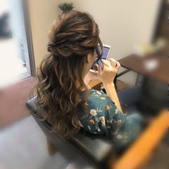 結婚式 ハーフアップ ねじり ヘアアレンジ ヘアスタイルや髪型の写真・画像