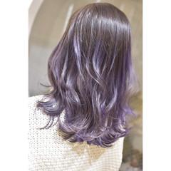 セミロング モード パープルカラー ブルーバイオレット ヘアスタイルや髪型の写真・画像