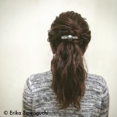 外国人風 セミロング ねじり まとめ髪 ヘアスタイルや髪型の写真・画像