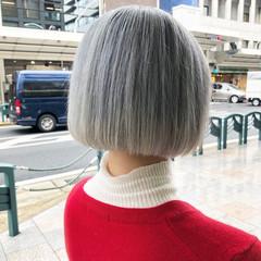 アッシュ ボブ 外国人風カラー アッシュグレージュ ヘアスタイルや髪型の写真・画像
