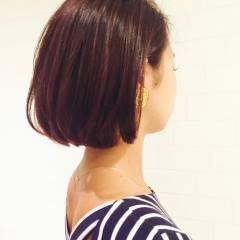 マルサラ 暗髪 ボブ 大人かわいい ヘアスタイルや髪型の写真・画像