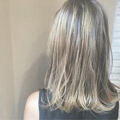 ハイトーン ガーリー グラデーションカラー ミディアム ヘアスタイルや髪型の写真・画像