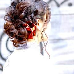 フェミニン ロング ストリート 黒髪 ヘアスタイルや髪型の写真・画像