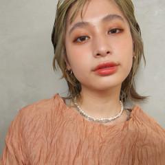 モード ウルフカット ミディアム オールバック ヘアスタイルや髪型の写真・画像