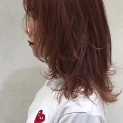 ウルフ アプリコットオレンジ オレンジベージュ ウルフカット ヘアスタイルや髪型の写真・画像