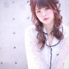 ヘアアレンジ ピンク 夏 涼しげ ヘアスタイルや髪型の写真・画像