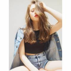 外国人風 パンク ウェットヘア ロング ヘアスタイルや髪型の写真・画像