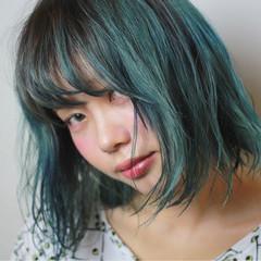 ボブ ネイビー ダブルカラー ブルー ヘアスタイルや髪型の写真・画像