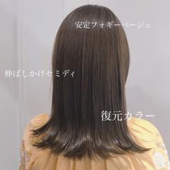 オフィス セミロング かわいい フェミニン ヘアスタイルや髪型の写真・画像