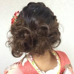 ミディアム ヘアアレンジ ガーリー 三つ編み ヘアスタイルや髪型の写真・画像