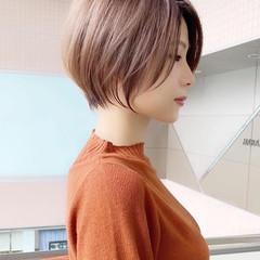 ひし形シルエット 大人可愛い ショート ショートボブ ヘアスタイルや髪型の写真・画像