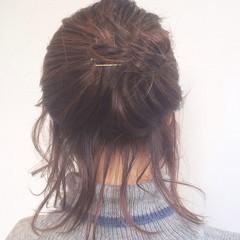 ハーフアップ ヘアアレンジ ボブ レイヤーカット ヘアスタイルや髪型の写真・画像