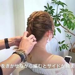 編み込み セミロング 上品 ヘアアレンジ ヘアスタイルや髪型の写真・画像