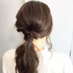 ゆるふわ セルフヘアアレンジ 時短 セミロング ヘアスタイルや髪型の写真・画像