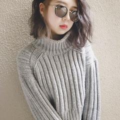 インナーカラー ラベンダーアッシュ 外国人風カラー ボブ ヘアスタイルや髪型の写真・画像
