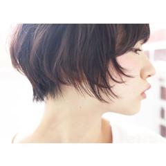 ナチュラル 黒髪 ショート 小顔 ヘアスタイルや髪型の写真・画像