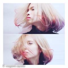 カラーバター 抜け感 レッド ストリート ヘアスタイルや髪型の写真・画像
