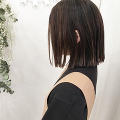 パーマ ストレート ロブ ハイライト ヘアスタイルや髪型の写真・画像