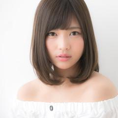 大人かわいい ミディアム デジタルパーマ ロブ ヘアスタイルや髪型の写真・画像