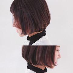 モード ボブ 切りっぱなし インナーカラー ヘアスタイルや髪型の写真・画像