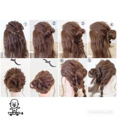ねじり 三つ編み ヘアアクセ ヘアアレンジ ヘアスタイルや髪型の写真・画像