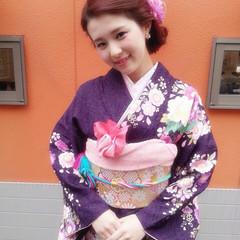 花 ヘアアレンジ 編み込み 成人式 ヘアスタイルや髪型の写真・画像