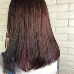 ブルー パープル ピンク セミロング ヘアスタイルや髪型の写真・画像