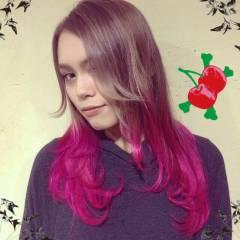 ロング グラデーションカラー ガーリー ピンク ヘアスタイルや髪型の写真・画像