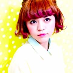 簡単ヘアアレンジ ショートボブ ショート ガーリー ヘアスタイルや髪型の写真・画像