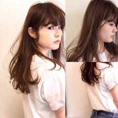 ロング パーマ ハイライト アッシュ ヘアスタイルや髪型の写真・画像