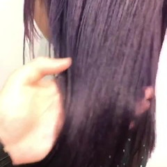 成人式 パープルカラー パープル セミロング ヘアスタイルや髪型の写真・画像