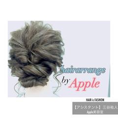 セミロング 簡単 くるりんぱ ヘアアレンジ ヘアスタイルや髪型の写真・画像