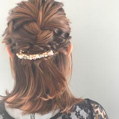 ヘアアレンジ ボブ ナチュラル 女子会 ヘアスタイルや髪型の写真・画像