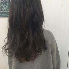 ロング グラデーションカラー ネイビー ブルーアッシュ ヘアスタイルや髪型の写真・画像