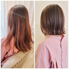 ナチュラル 縮毛矯正 外ハネボブ 切りっぱなしボブ ヘアスタイルや髪型の写真・画像