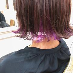 ストリート インナーカラーパープル 裾カラー インナーカラー ヘアスタイルや髪型の写真・画像