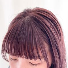 前髪 ナチュラル ピンクラベンダー セミロング ヘアスタイルや髪型の写真・画像
