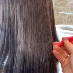 ブリーチなし 透明感カラー セミロング アッシュグレージュ ヘアスタイルや髪型の写真・画像