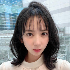 外ハネボブ 韓国ヘア シースルーバング 大人可愛い ヘアスタイルや髪型の写真・画像