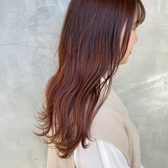 ナチュラル セミロング オレンジカラー ヘアスタイルや髪型の写真・画像