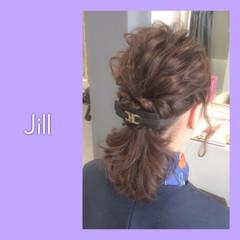ヘアアクセ ハーフアップ ヘアアレンジ バレッタ ヘアスタイルや髪型の写真・画像