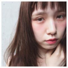ロング フェミニン 外国人風 ショートバング ヘアスタイルや髪型の写真・画像