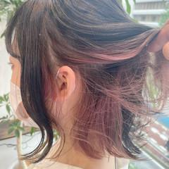 ピンクラベンダー ガーリー ボブ イヤリングカラーピンク ヘアスタイルや髪型の写真・画像