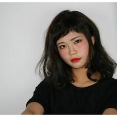 ナチュラル ゆるふわ セミロング ショートバング ヘアスタイルや髪型の写真・画像