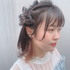ヘアアレンジ ミディアム 簡単ヘアアレンジ かわいい ヘアスタイルや髪型の写真・画像