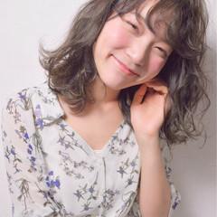 ウェーブ かわいい ミディアム ふわふわ ヘアスタイルや髪型の写真・画像