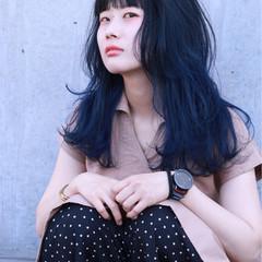 ストリート ハイトーン ネイビー ロング ヘアスタイルや髪型の写真・画像