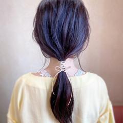 ポニーテール ヘアアレンジ ロング 紐アレンジ ヘアスタイルや髪型の写真・画像