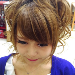 夏 和装 ヘアアレンジ セミロング ヘアスタイルや髪型の写真・画像