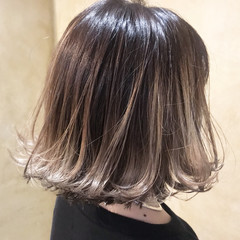 ストリート デート ボブ グラデーションカラー ヘアスタイルや髪型の写真・画像